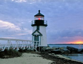 close up of brant point lighthouse on nantucket