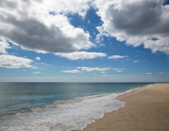 nantucket beach with sandy shore sunny skies and some clouds