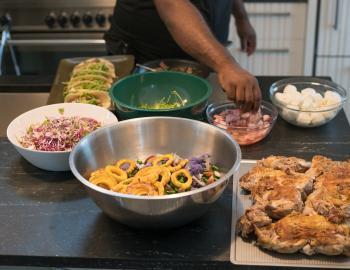 food prep kitchen at a nantucket party
