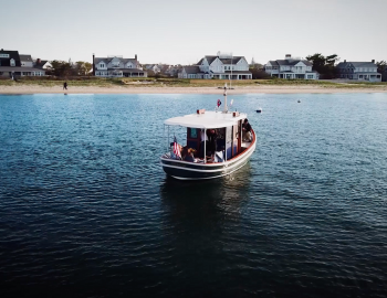 view of Nantucket tugboat out on the water