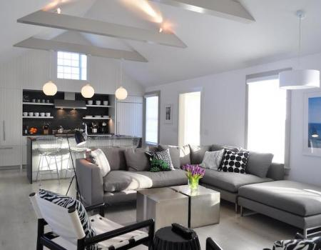 bright modern living room at nantucket vacation rental home