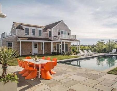 sundeck, table and pool at 32 nonantum avenue in nantucket