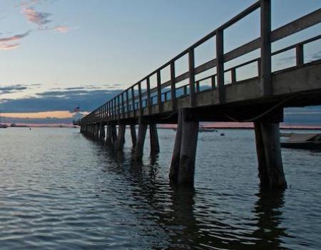 monomoy pier in nantucket massachusetts from below