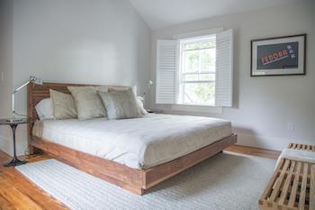 neutral bedding in bedroom at nantucket vacation rental condo
