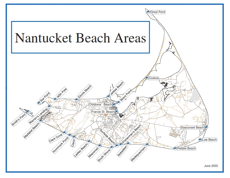 Nantucket beaches map with all beaches on island