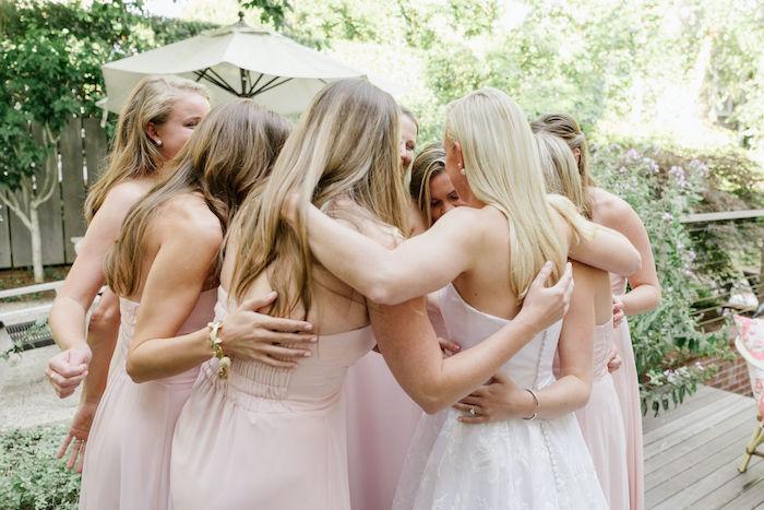 bride with bridesmaids at nantucket rental home