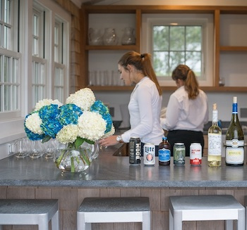 staff at event at nantucket vacation rental for party