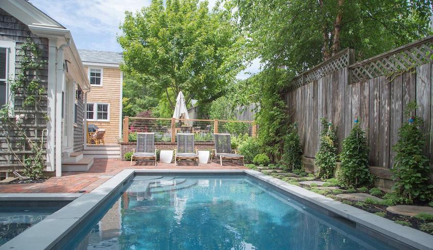 nantucket pool in yard at 26 pleasant street in town