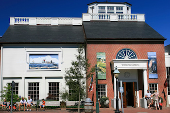 Nantucket Whaling Museum from the outside on a sunny day